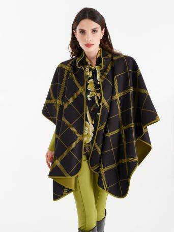 Chequered cape in oil green