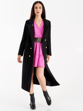 Maxi coat, black with gold buttons