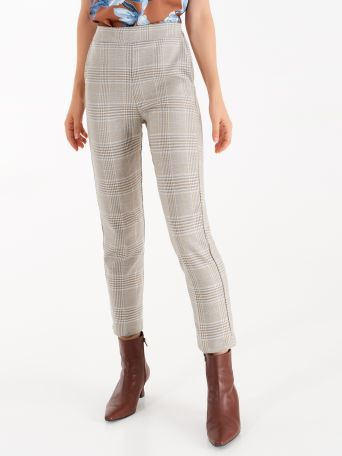 Chequered trousers with lurex thread