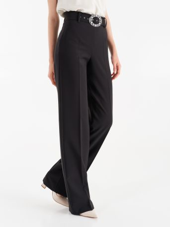 Trousers with jewel detail belt