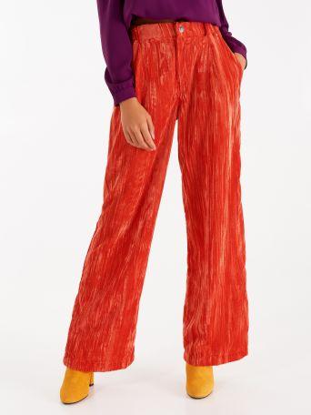 Pantalon court en velours martelé couleur orange