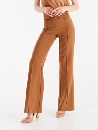 Mid-flared, camel colour trousers
