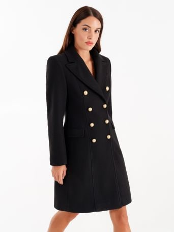 Double-breasted coat, black