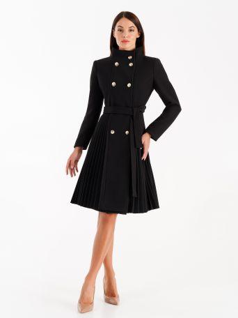 Pleated coat, black