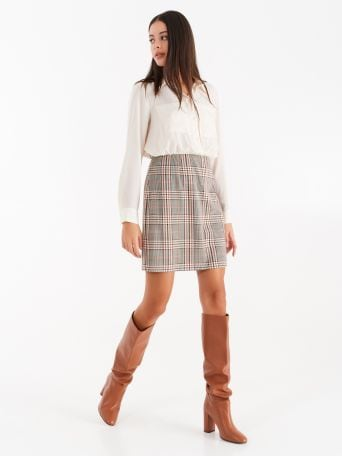 Dress with chequered print skirt