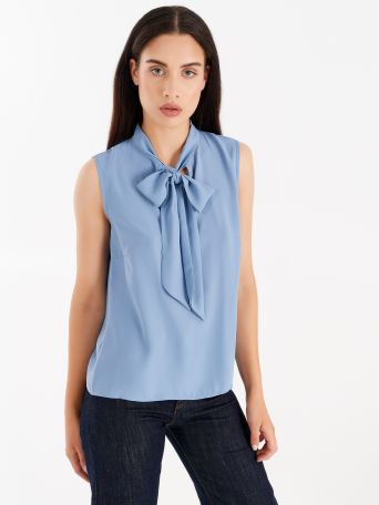 Top with bow, cerulean blue