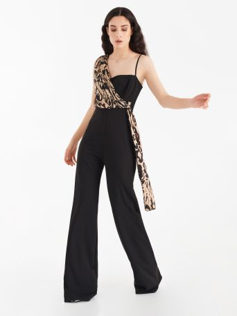 One-piece suit with satin detail