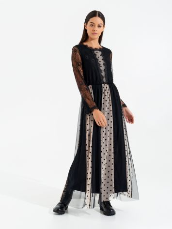 Long lace dress with polka dots Long lace dress with polka dots Rinascimento