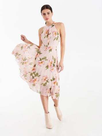 Floral midi dress with pleated skirt Floral midi dress with pleated skirt Rinascimento