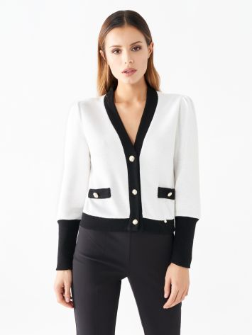 Two-tone short cardigan with buttons Two-tone short cardigan with buttons Rinascimento