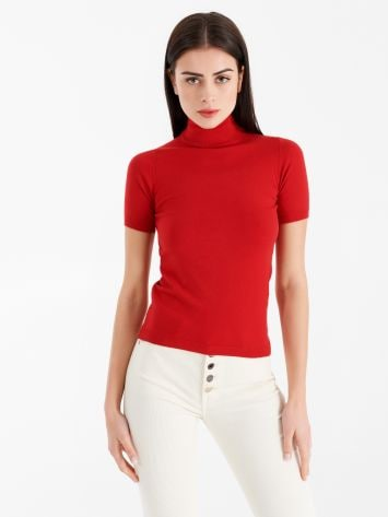 Short-sleeved polo neck top Short-sleeved polo neck top Rinascimento