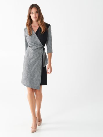 Glen plaid wrap dress Glen plaid wrap dress Rinascimento