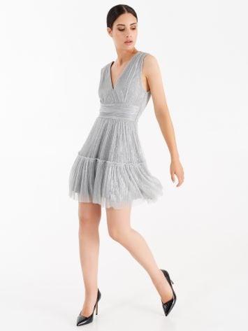 Vestido plateado con hilo lúrex Vestido plateado con hilo lúrex Rinascimento