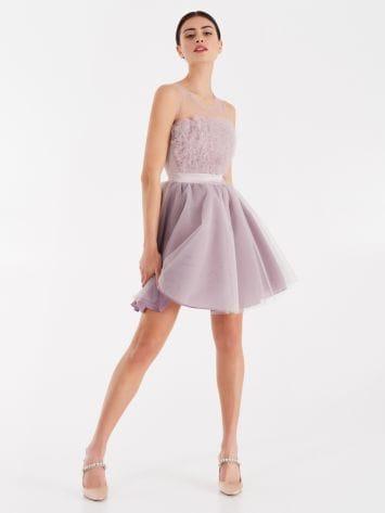 Kurzes Kleid mit Bouquet aus Tüll Kurzes Kleid mit Bouquet aus Tüll Rinascimento