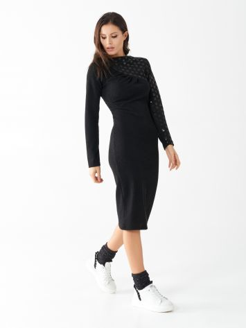 Knit dress with asymmetrical sequin embroidery Knit dress with asymmetrical sequin embroidery Rinascimento