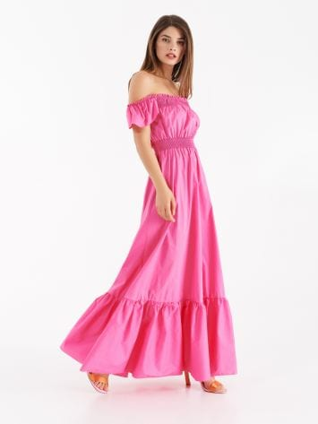 Off-the-shoulders poplin full-length dress Off-the-shoulders poplin full-length dress Rinascimento