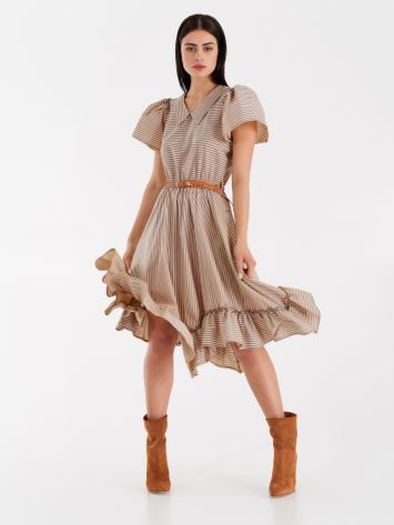 Striped midi dress with collar  Striped midi dress with collar  Rinascimento