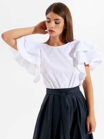 Cotton blouse with short frilled sleeves Cotton blouse with short frilled sleeves Rinascimento