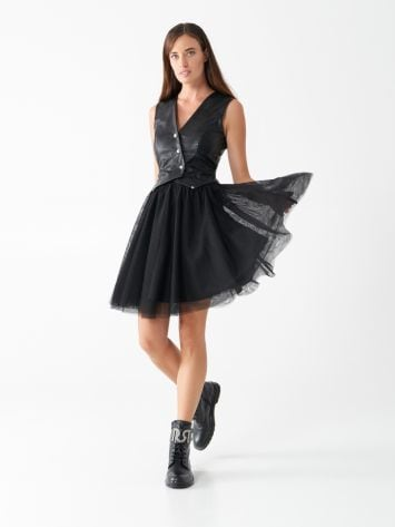 Tulle and faux leather dress Tulle and faux leather dress Rinascimento