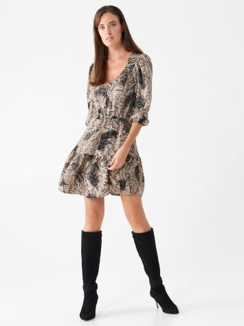 Short dress with feather print Short dress with feather print Rinascimento