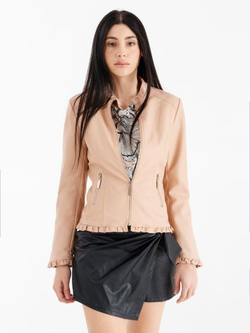 Faux leather biker jacket with micro ruffles Faux leather biker jacket with micro ruffles Rinascimento