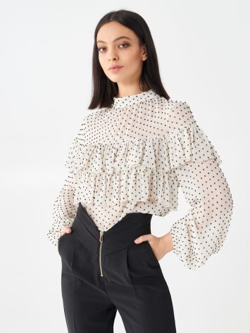 Polka dot blouse with ruffles Polka dot blouse with ruffles Rinascimento
