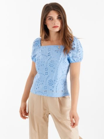 Blouse in coloured Sangallo lace Blouse in coloured Sangallo lace Rinascimento