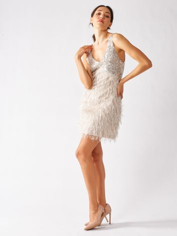 Mini Dress Feathers and Sequins Mini Dress Feathers and Sequins Rinascimento