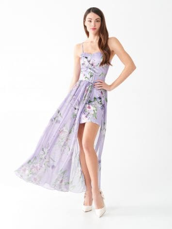 Printed sheath dress with voile Printed sheath dress with voile Rinascimento