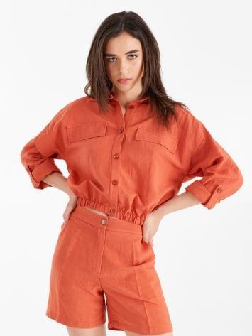 Linen-viscose shirt  Linen-viscose shirt  Rinascimento