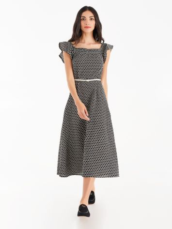 Textured cotton midi-dress Textured cotton midi-dress Rinascimento