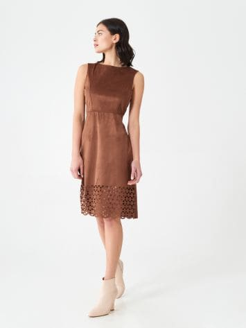 Short perforated suede dress Short perforated suede dress Rinascimento