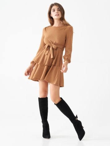Knit dress with frilled skirt Knit dress with frilled skirt Rinascimento