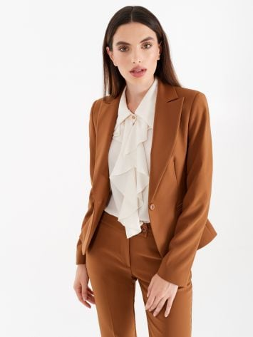 Jacket with one-button closure, in technical fabric, caramel colour Jacket with one-button closure, in technical fabric, caramel colour Rinascimento