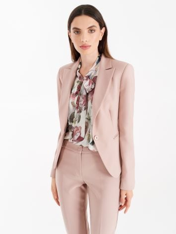 Jacket with one-button closure, in technical fabric, dusty pink Jacket with one-button closure, in technical fabric, dusty pink Rinascimento
