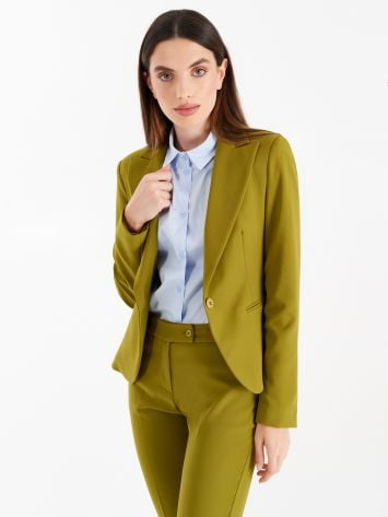 Jacket with one-button closure, in technical fabric, oil green Jacket with one-button closure, in technical fabric, oil green Rinascimento