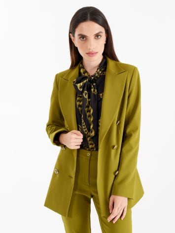 Double-breasted jacket, oil green colour Double-breasted jacket, oil green colour Rinascimento