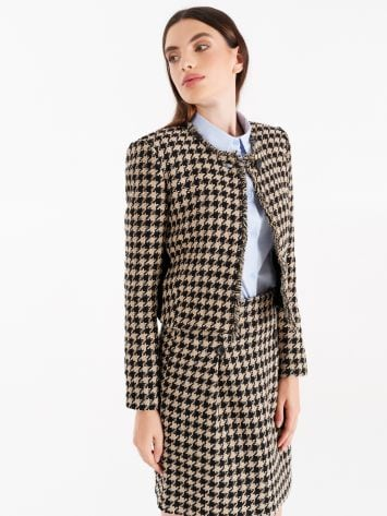 Cotton and viscose matting jacket in black and camel Cotton and viscose matting jacket in black and camel Rinascimento