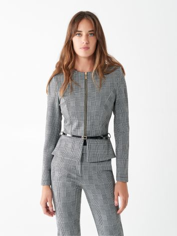 Glen plaid peplum jacket Glen plaid peplum jacket Rinascimento