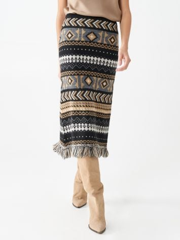 Jacquard wool pencil skirt Jacquard wool pencil skirt Rinascimento