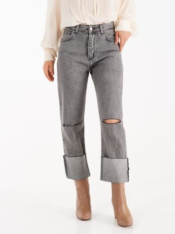 Straight-leg jeans with cuff Straight-leg jeans with cuff Rinascimento