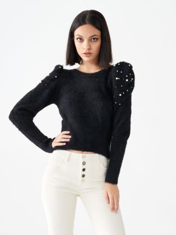Puff sleeve fur top  Puff sleeve fur top  Rinascimento