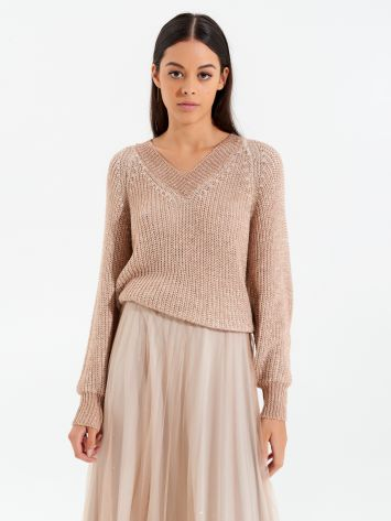Lurex jumper with v-neck Lurex jumper with v-neck Rinascimento