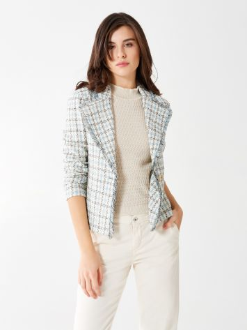 One-button tweed jacket One-button tweed jacket Rinascimento