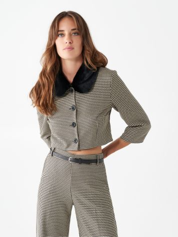 Cropped houndstooth jacket Cropped houndstooth jacket Rinascimento
