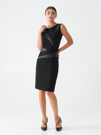 Sheath dress with faux leather inserts Sheath dress with faux leather inserts Rinascimento