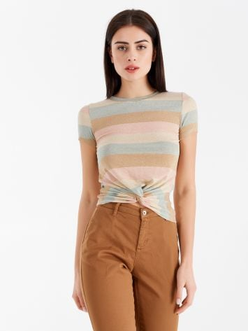 Striped lurex T-shirt Striped lurex T-shirt Rinascimento