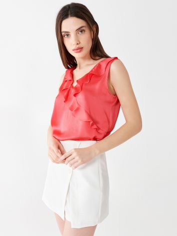 Satin top with ruffles Satin top with ruffles Rinascimento