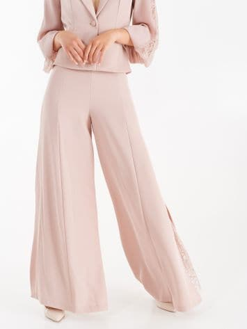 Trousers with lace insert, dusty pink colour Trousers with lace insert, dusty pink colour Rinascimento