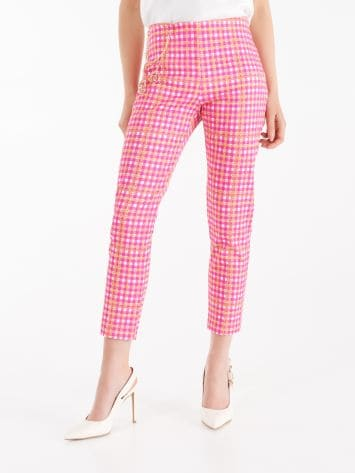 Printed piqué cotton trousers Printed piqué cotton trousers Rinascimento